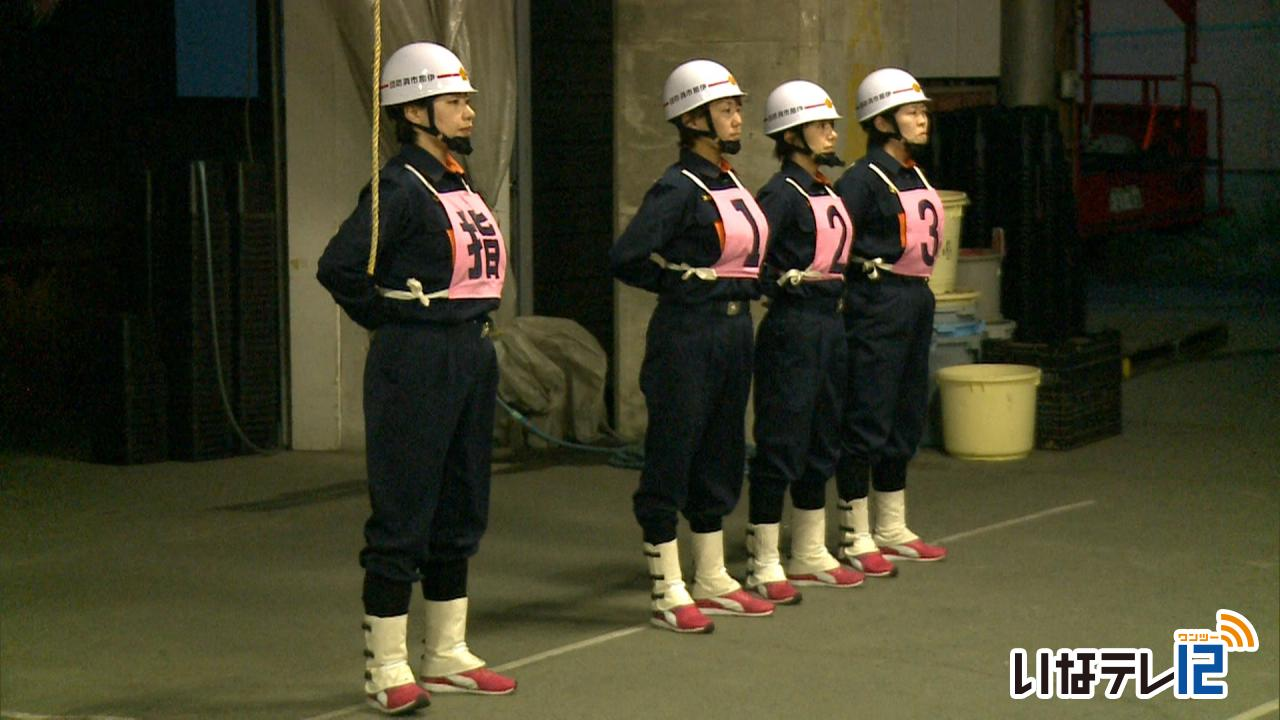 伊那市消防団で初めて結成された女性だけのチーム「 伊那娘 ( いなっこ ) 」は、8日のポンプ操法 の上伊那郡大会・22日の県大会に向け、練習に励んでいます。